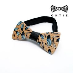 "OKTIE - wooden accessories: OKTIE Wood Bow Tie ART Series ""Feather"""