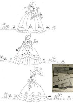 This is for a black and white copy taken from my original mail order #567 transfer pattern.Features 3 motifs of southern belles / crinoline ladies / HOOP SKIRT GIRLS for pillowcases with a Scottie dog.You will receive a copy all 3 lady designs as well as the color & stitch suggestions.
