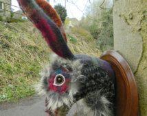 Henderson Fabric Hare Head Fake Animal Head Textile Taxidermy Fauxidermy Fabric Art Mounted Head Soft Sculpture replica decor fabric