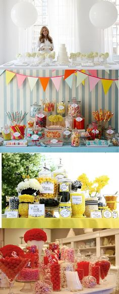 Candy bar (hanging signs over jar) I think an all sweets party would be awesome! like fondue and candies  the best part is my birthday is after halloween! and instead of bags we could do cups or bags if cheaper! Just to keep everyone  on a sugar high throughout the party. and do like fruitpunchs and sodas