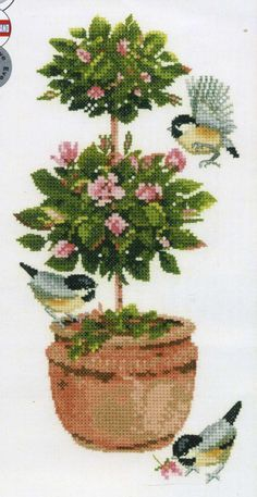 Topiary Rose Cross Stitch Kit By Heritage Crafts Cross Stitch Boards, Cross Stitch Heart, Simple Cross Stitch, Cross Stitch Flowers, Cross Stitch Kits, Easy Cross Stitch Patterns, Cross Stitch Designs, Cross Stitching, Cross Stitch Embroidery