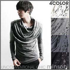 Men's 3-Colour Drape Turtleneck Visual Kei Shirt (top-5940)