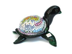 "TARTARUGA MARE MP - Murano Glass Tortoise: 13 cm in height, 23 cm in diameter, length 19 cm and 2000 grams in weight, available in Millefiori Colour, entirely handmade by Murano master glassmakers with the ""lampworking blown technique"""