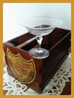 #Hire beautiful vintage #champagne glass .Old orginal 1920 upcycled#Dom Perignon case.£ 10.