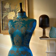 Striking Damask Corset Laced Mannequin Dressform Bust - Celia in Peacock on Etsy, $313.74