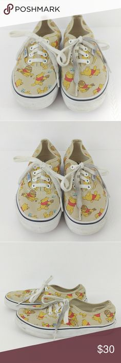 {Vans} Disney Winnie the Pooh Sneakers Youth Pre-loved and in great condition. Minor dirt and scuff marks due to normal wear. Shoelaces are dirty. Outsoles look like they have only been worn a handful of times. Shoes still has a lot of miles to it. Price is negotiable. Sold as is. Bundle today and save. Vans Shoes Sneakers