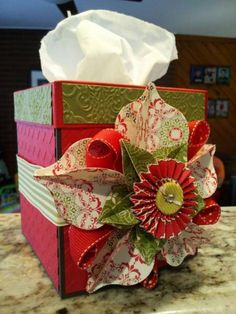 Candlelight Christmas Tissue Box Cover