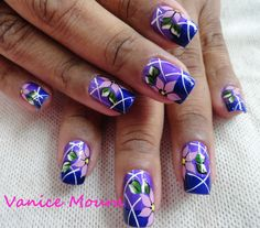 pretty in purple Fabulous Nails, Gorgeous Nails, Flower Nail Designs, Nail Art Designs, Hair And Nails, My Nails, Wide Nails, French Acrylic Nails, Nails Only