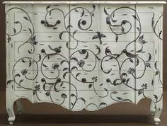 Love this stencil -- stencilled furniture - Google Search