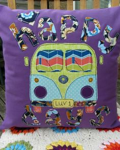 Campervan cushion cover - purple, navy blue, lime green £19.50
