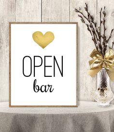 Open Bar Sign // Watercolor Wedding Open Bar by JadeForestDesign