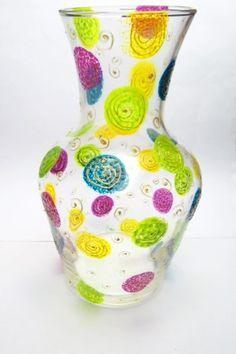 """Vase Série """"Spring"""" Peinture pour verre sur verre Magali Van de Wiele"""