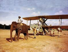 """Supermarine Walrus being towed by an Indian """"tractor"""""""