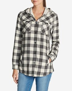 Women's Stine's Favorite Flannel Hooded Shirt Jacket | Eddie Bauer