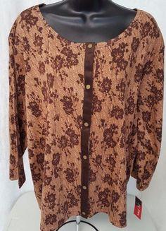 Rafaella NWT Woman's Plus Light/Dark Brown Floral Snap Front Shirt Size 3X #Rafaella #SnapFrontShirt #Casual