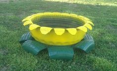 Flower planter from 2 old tires