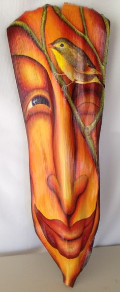 Mountain Song acrylic on palm frond                     by Anna Skaradzinska