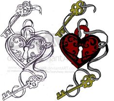 Heart Tattoo Designs | Key Heart Tattoo design by ~DancingTheTearsAway on deviantART