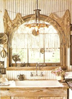 I love this!!! Suitcase Vignettes: Tea stained lace curtains