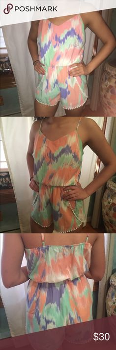 Watercolor Romper...Medium  So cute for the summer! Fits great and looks awesome on any skin tone!! EUC Pants Jumpsuits & Rompers