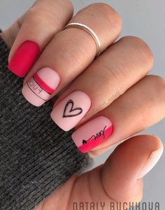 50 Valentine's Day Nail Art Ideas Since Valentine's Day is seriously getting closer, how about we look into some of the most awesome nail art designs for the season of hearts? Funky Nail Art, Funky Nails, Cute Nail Art, Cute Nails, Pretty Nails, Heart Nail Art, Heart Nails, Nail Art Designs Videos, Cute Nail Designs