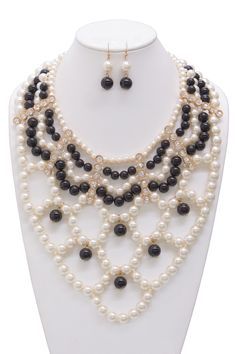 Laura Rhinestone Premium Bead Simulated Pearl Statement Necklace and Earrings Set