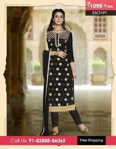 """Moday Super Deal """"Black Chanderi Cotton Designer Suit""""@ Rs 1099/- Shop Now @ http://www.enasasta.com/deal/black-chanderi-cotton-designer-suit OR Call/WhatsAp-8288886065  Download Android App-http://goo.gl/Z1zG5f  Product Code:-ESC21P1  Deal is Valid For Today Only"""