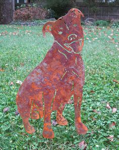 Pit Bull Garden Stake or Wall Hanging / Memorial / Pet Stake / Dog Breed Garden Stake / Metal / Rusty / Shadow / Silhouette on Etsy, $44.99