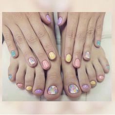 #nails #art #design #nailsart #nailsdesign #colors #bright #summer  #violet  #yellow #blue #white #pink #mixofcolors