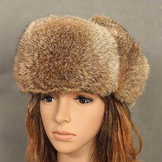 Pas cher Femmes gris / noir femme hiver russie Bomber chapeaux hommes réel…