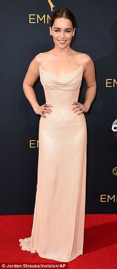 Sizzling:Emilia Clarke and co-star Sophie Turner were at the heart of the red carpet as they dazzled while leading the superstar British arrivals at Sunday night's 68th Primetime Emmy Awards in Los Angeles' Microsoft Theatre