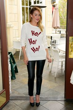 holiday sweater + leggings + heels cute edgy , but I think the lip stick is too much  for a soft/ comfy style