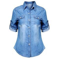 Fedi Apparel Lady Long Sleeve Button Down Shirt Denim Jean Boyfriend... (745 RUB) ❤ liked on Polyvore featuring tops, blouses, shirts, t-shirts, long sleeve button down shirts, blue button up shirt, shirt blouse, button up blouse and extra long sleeve shirts