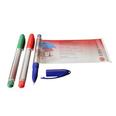 """Gel ink banner pen with a clear barrel and plastic colored cap and base. Featuring a two-sided, full-color 7 1/2"""" x 2 3/4"""" retractable banner made of laminated paper, you can now provide a wealth of information on an attractive but cost-effective marketing tool that is truly mightier than the sword"""