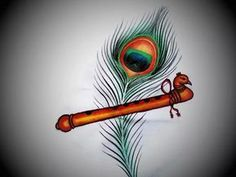 Krishna Flute With Peacock Feather Painting Krishna Flute - - jpeg Krishna Painting, Krishna Art, Krishna Images, Radhe Krishna, Shree Krishna, Krishna Tattoo, Baby Krishna, Krishna Pictures, Saree Painting