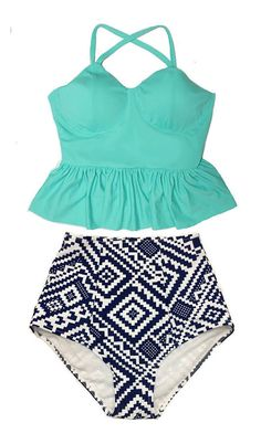 Mint Long Peplum Tankini Tankinis Top and Graphic por venderstore