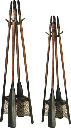 """Oar Hall Tree New 21st century Wood, Metal 83""""h x 20""""w x 20""""d © Vintage Winter Every house, but especially a lake house needs places to hang stuff – life jackets, wet towels, hats, etc… This boat oar"""
