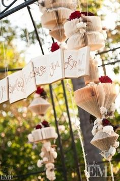 You could have these hanging by the alter or in the tree by the alter.. just an idea