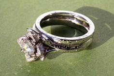 Wedding Set   UNIQUE Flower Rose Diamond by BeautifulPetra on Etsy, $4800.00