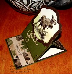 Walk in the Wild and For All Things go cameo @ My Tanglewood Cottage.  Easel Card, Stampin' Up!