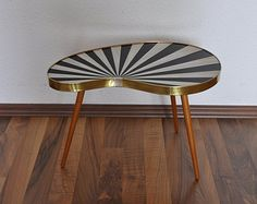 Rare Original Mid Century Plant Stand. Striped. Black and pearl white. 1950s. Small Table. Germany.