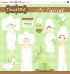 Items similar to Spa Retreat Clip Art on Etsy Spa Cookies, Spa Party, Designs To Draw, Cocoa, Clip Art, Etsy, Icing, Drawings, Girls