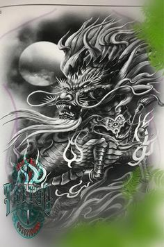 Dragon Tattoo Colour, Dragon Tattoo Designs, Dragon Tattoos, Japanese Snake Tattoo, Father Tattoos, Fu Dog, Dragon Artwork, Tattoo Illustration, Back Tattoos