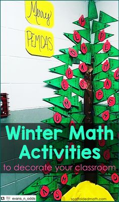 This post is a holiday celebration of teachers' creativity. I would have never thought to make Christmas trees out of math pennants! But you all did and these photos all blew me away. The effort, the colors, the care that went into creating the displays, everything. I am so thankful that teachers like you are in the classroom. Algebra Activities, Teaching Math, Math Teacher, Math Worksheets, Math Games, Teaching Resources, Teaching Ideas, Christmas Classroom Door, Christmas Math
