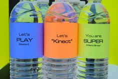 Neon Video Game Water Bottle Labels by jacolynmurphy on Etsy