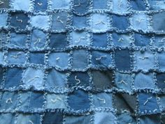 pictures of blue jean quilts | Blue jean tied lap quilt | Crafts