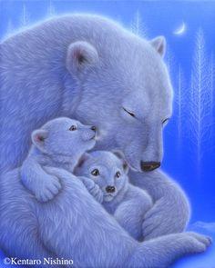 """Hug"" Polar Bears  27.3 × 22.0cm, Acrylic on canvas, 2011, Private Collection  Gallery Big Mammals2 - Art of Kentaro Nishino"