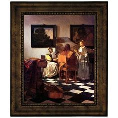 """Astoria Grand 'The Concert Stolen' by Johannes Vermeer Framed Oil Painting Print on Canvas Size: 16.75"""" H x 13.75"""" W, Format: Antique Gold Frame"""