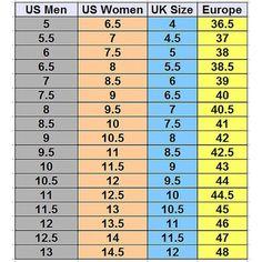 Shoe Size Conversion Chart | US, UK, EU, JPN, CN, MX, KOR ...