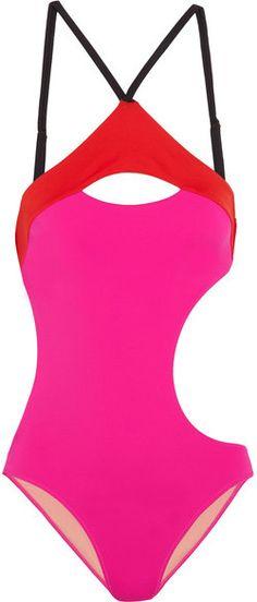 f306829059 L Agent by Agent Provocateur - Alenya Cutout Color-block Swimsuit - Fuchsia